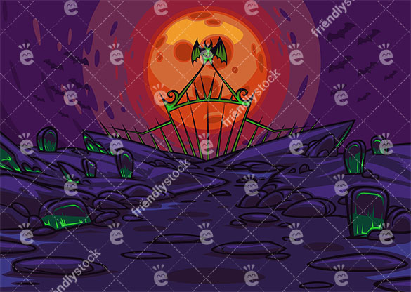 Spooky Cemetery On A Night With A Reddish Full Moon Vector