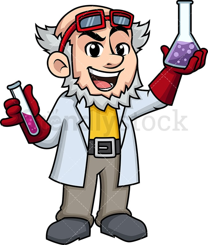 Mad Scientist Holding Chemicals Cartoon Vector Clipart - FriendlyStock