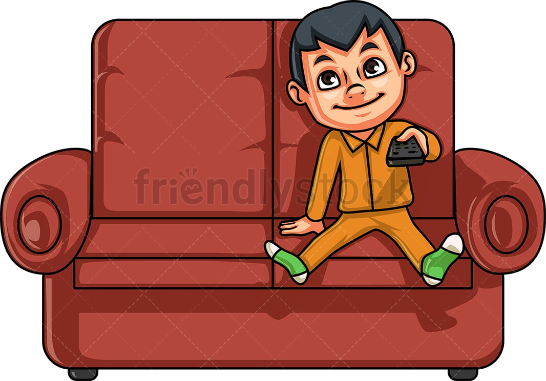 Sofa Set Vector Png Little Boy Watching Television