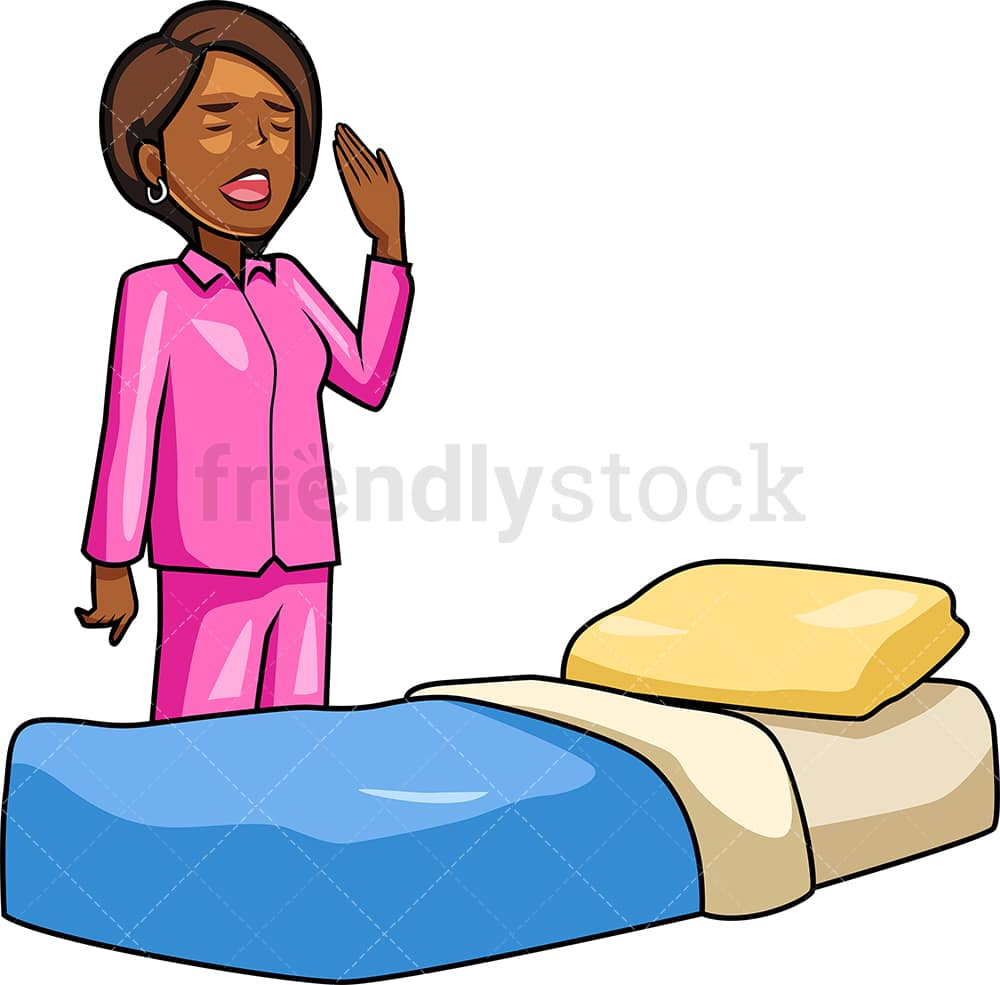Black Woman Going To Sleep Cartoon Vector Clipart Friendlystock