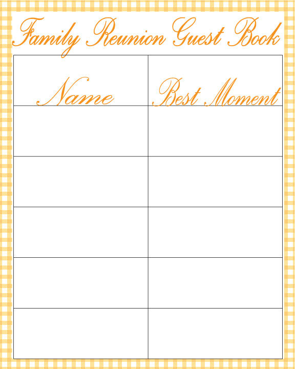 family reunion book template