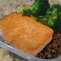 Horseradish crusted salmon and lentils