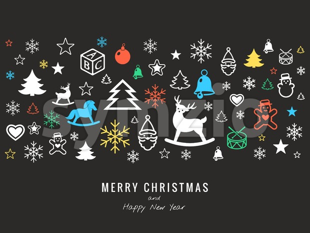 Digital vector dark happy new year icons with drawn vector