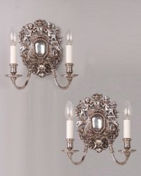 Pair of 2 Branch Fine Quality Decorative Silver Plated ...