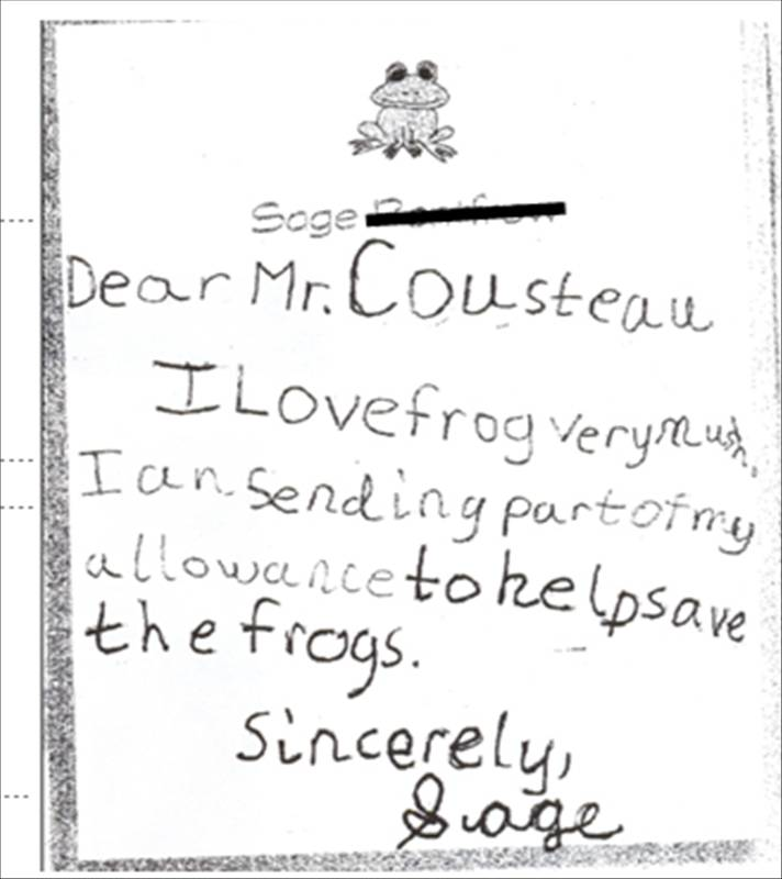 Children love frogs Frog Matters - child letter