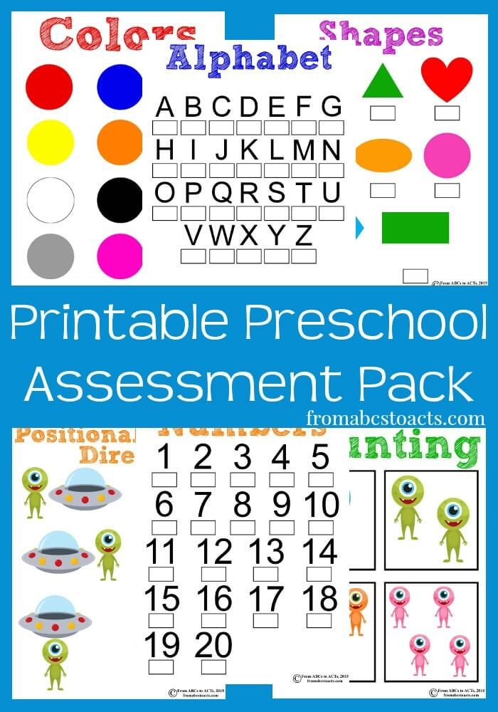 Printable Preschool Assessment Pack From ABCs to ACTs