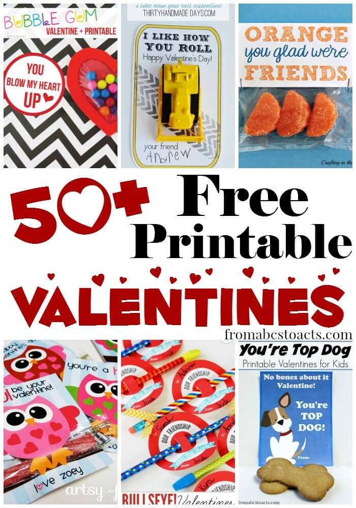 50+ Free Printable Valentines for Kids From ABCs to ACTs