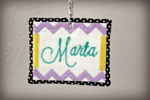 Embroidered name tag - from Marta with Love