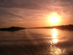 """Sunset while on Amazon River """"cruise"""""""