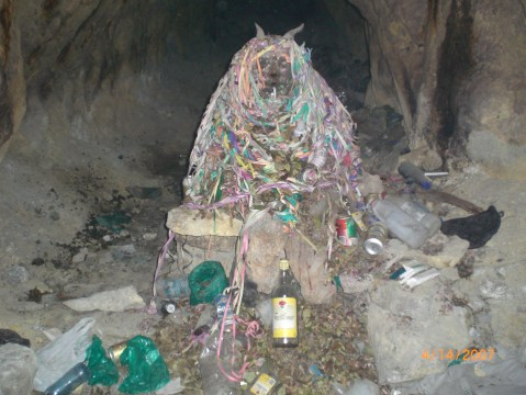 A shrine to Pachamama (Mother Earth) deep in the bowels of a mine in Potosi, Bolivia.