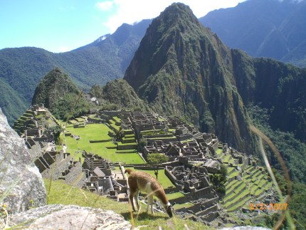 After a 4 day trek - arriving into Machu Picchu