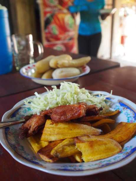 My usual meal served on a bed of yummy friend plantains with a variety of boiled ones served on the side.
