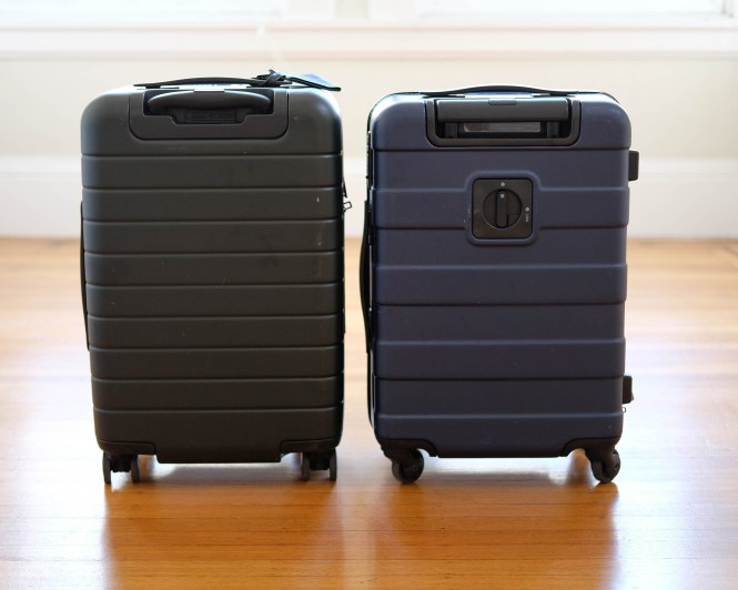Product review away carry on luggage comparison to for Valise muji prix