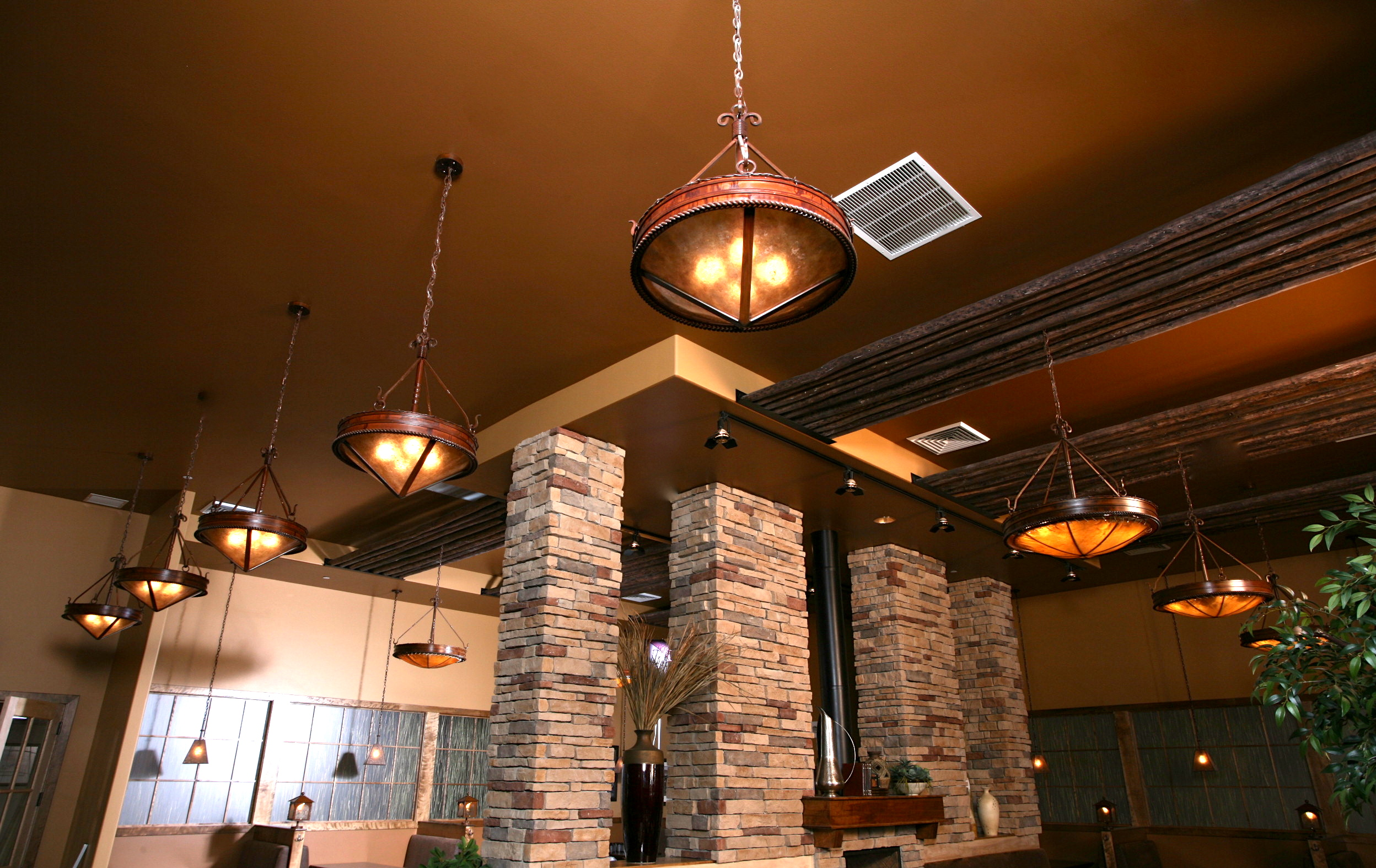 Rustic Bar Stools Fire Rock Chandelier With Mica Dome – Frontier Iron Works