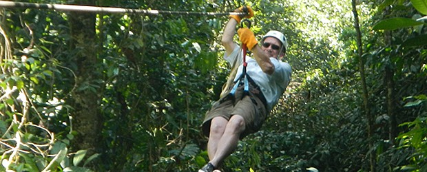 Riding a Zip Line in Costa Rica