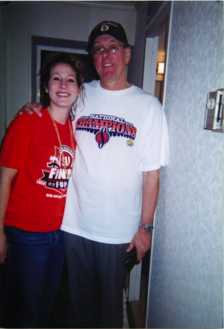 ESPN'S Keri Potts with coach Jim Boeheim. (Photo courtesy of Keri Potts