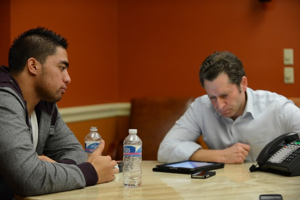 ESPN's Jeremy Schaap and Manti Te'o during Friday night's interview. (Photo by Ryan Jones / ESPN Images)