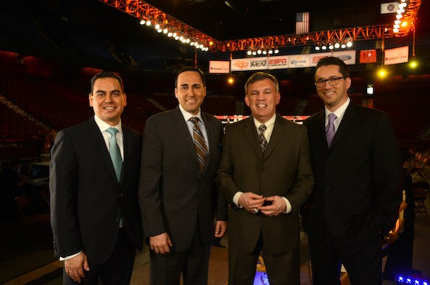 Bernardo Osuna, Joe Tessitore, Teddy Atlas and Todd Grisham on location during ESPN Friday Night Fights Presented By Corona Extra. (Joe Faraoni / ESPN Images)