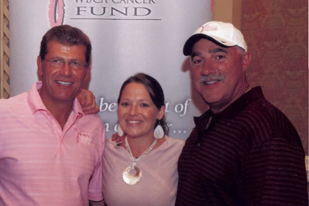 Connecticut head coach Geno Auriemma, ESPN's Lindsey Ross, The V Foundation's Nick Valvano.