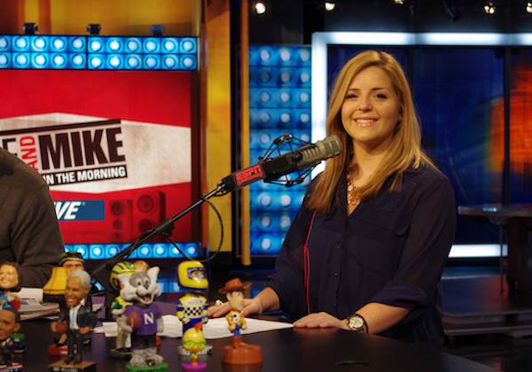 Kristen Balboni on the set of Mike & Mike In The Morning. (Hannah Worster/ESPN)
