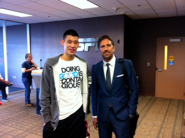 "NBA star Jeremy Lin and NHL standout Henrik Lundqvist met in September on the ESPN campus between their respective ""This Is SportsCenter"" shoots. (AJ Mazza/ESPN)"