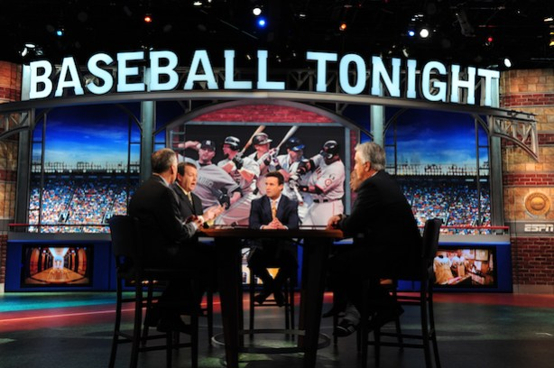 Tim Kurkjian, Buster Olney, Karl Ravech, Pedro Gomez and Howard Bryant on the set of Baseball Tonight. (Joe Faraoni / ESPN Images)