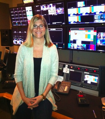 Lya Vallat in the control room. (Photo courtesy of Lya Vallat)