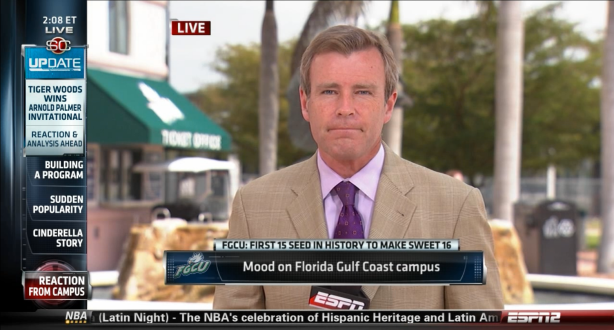 ESPN's Tom Rinaldi hustled to Fort Myers, Fla. from Orlando where he was covering Tiger Woods.