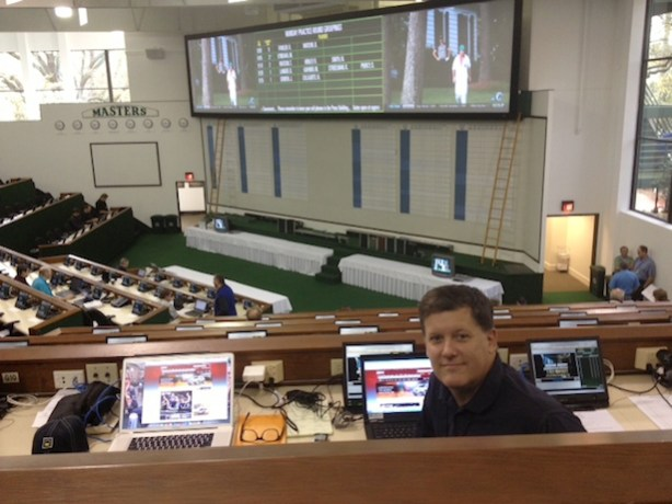 Bob Harig, senior golf writer for ESPN.com, in the Masters media center. (Photo courtesy of Bob Harig)