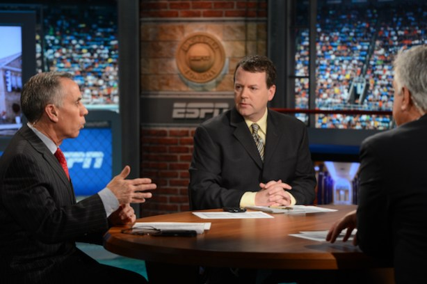 Buster Olney and Tim Kurkjian (L) on the set of Baseball Tonight. (Joe Faraoni / ESPN Images)