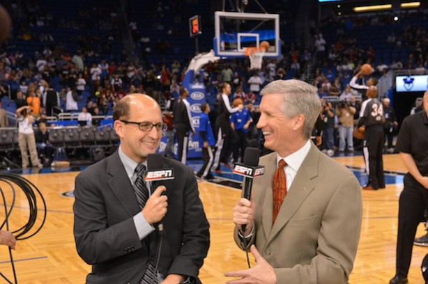 ESPN&#039;s Jeff Van Gundy  (L) and Mike Breen. (Scott Clarke / ESPN Images)