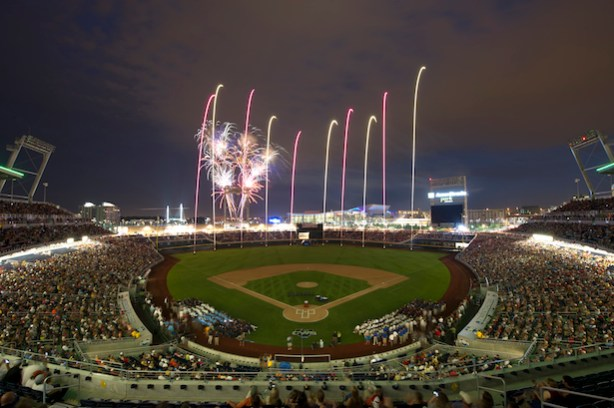 Opening ceremony of the 2011 College World Series at TD Ameritrade Park in Omaha. (Phil Ellsworth / ESPN)