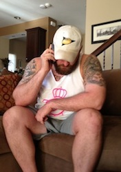 Mike Golic Jr. on the phone with the  Pittsburgh Steelers organization. (Photo courtesy of Mike Golic)
