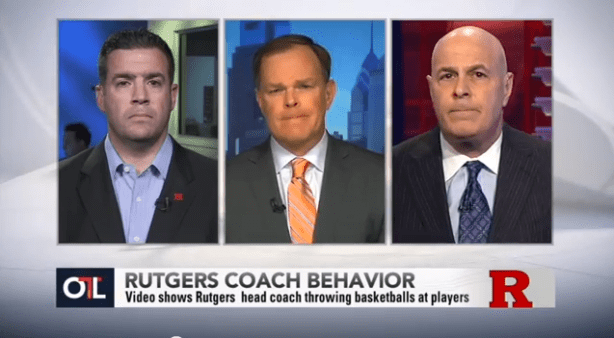 (L-R) Rutgers AD Tim Pernetti, ESPN's Jon Barr and ESPN's Seth Greenberg on yesterday's OTL.
