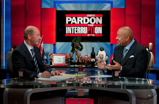 The Pardon the Interruption set with Tony Kornheiser (L) and Michael Wilbon. (Randy Sage/ESPN Images)