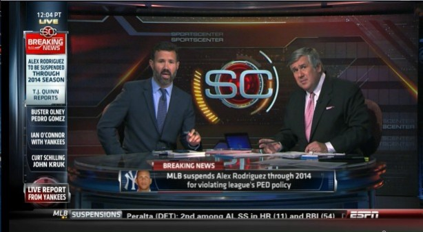 SportsCenter anchor Bob Ley (r) and ESPN Investigative Reporter T.J. Quinn (l) were on set Monday to report on Alex Rodriguez's suspension. (ESPN)