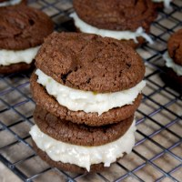 Chewy Chocolate Cookies with Coconut Candy Filling