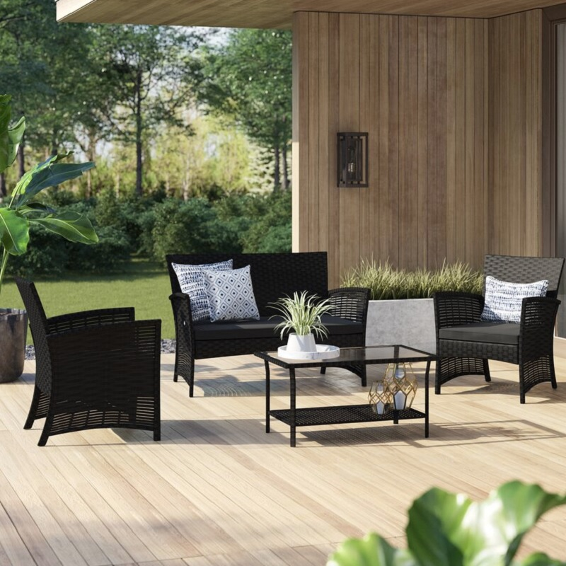 Sitzecke Rattan Mercury Row Charon 4pc Rattan Sofa Seating Group $240.44
