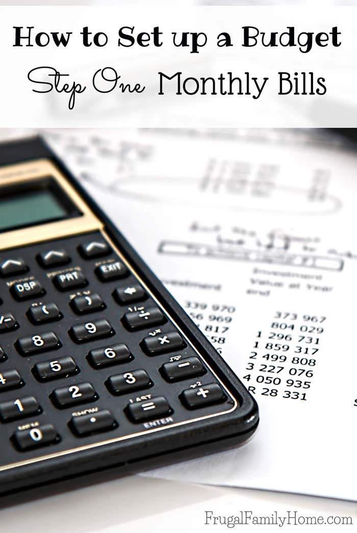 How to Set Up a BudgetMonthly Bills Frugal Family Home - monthly bill calculator