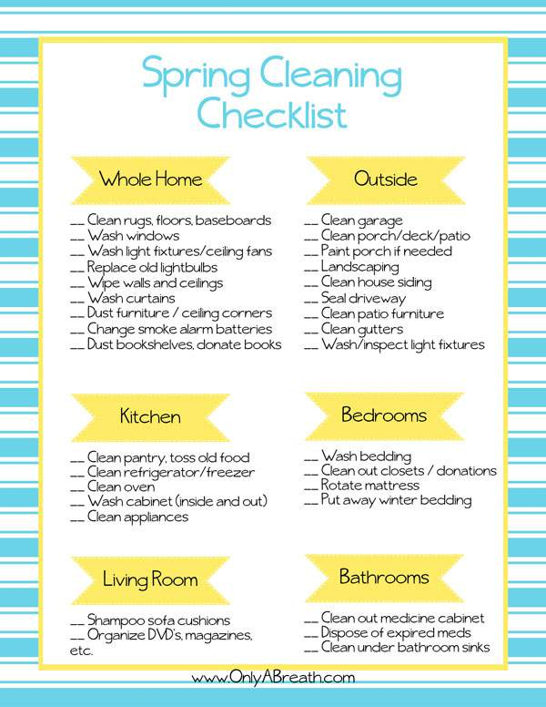 Free Printable Spring Cleaning Checklist - spring cleaning checklist