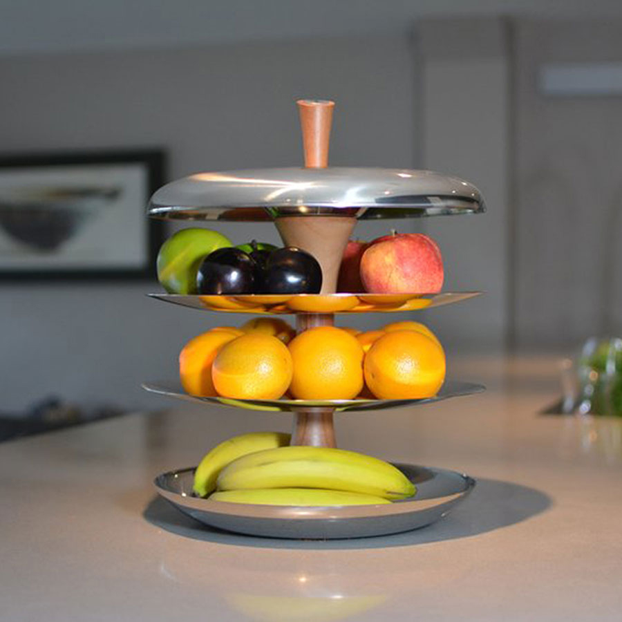 Modern Metal Fruit Bowl Tiered Fruit Bowl Ceramic And Stainless Steel Fruit Tier