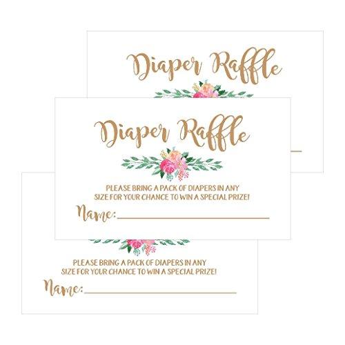 25 Flower Diaper Raffle Ticket Lottery Insert Cards For Gold Girl
