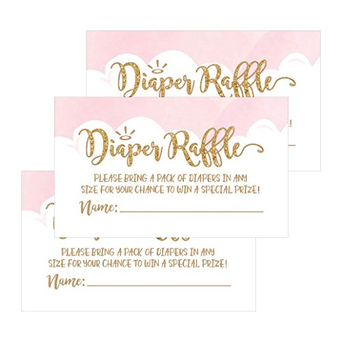 25 Diaper Raffle Ticket Lottery Insert Cards For Pink Girl Heaven