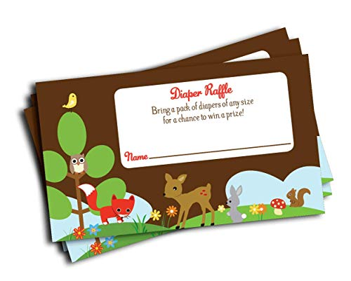50 Woodland Boy or Girl Baby Shower Diaper Raffle Invitation Insert