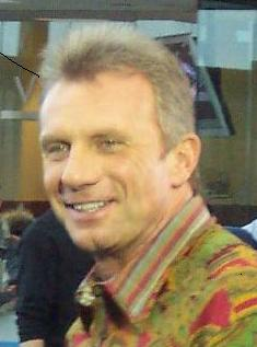 Joe Montana on the set of an ESPN broadcast.