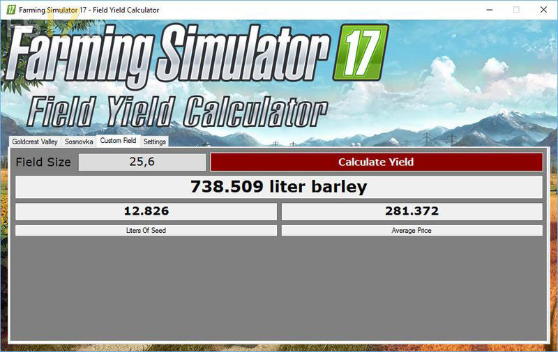 Field Yield Calculator v 10 - FS17 mods