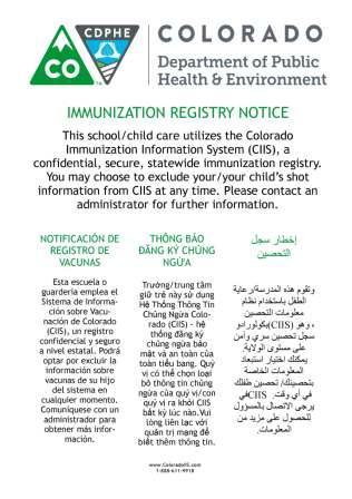 Colorado Immunization Program Printed Materials Order Form - vaccine order form