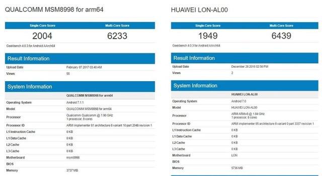 geekbench qualcomm sd 835 vs huawei kirin 960