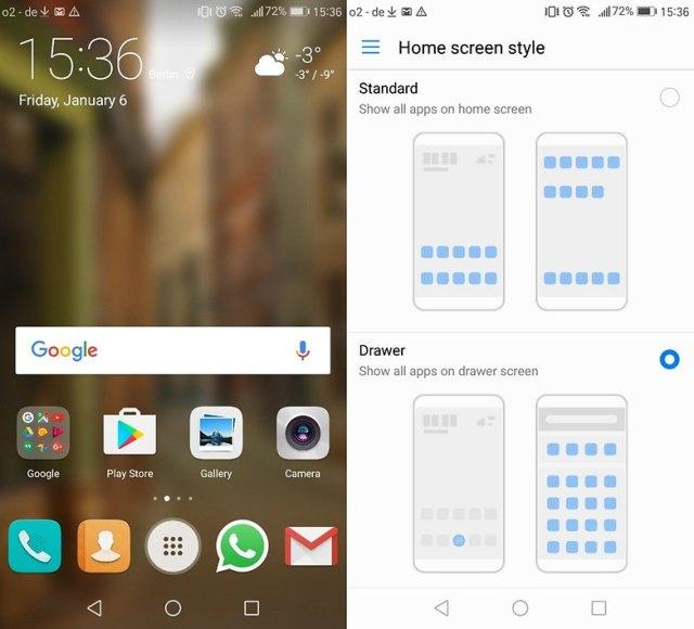 Huawei P9 app drower