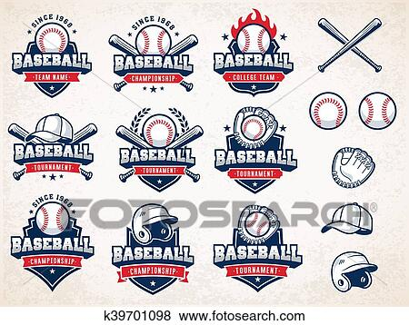 Clip Art of White, red and blue Vector Baseball logos k39701098